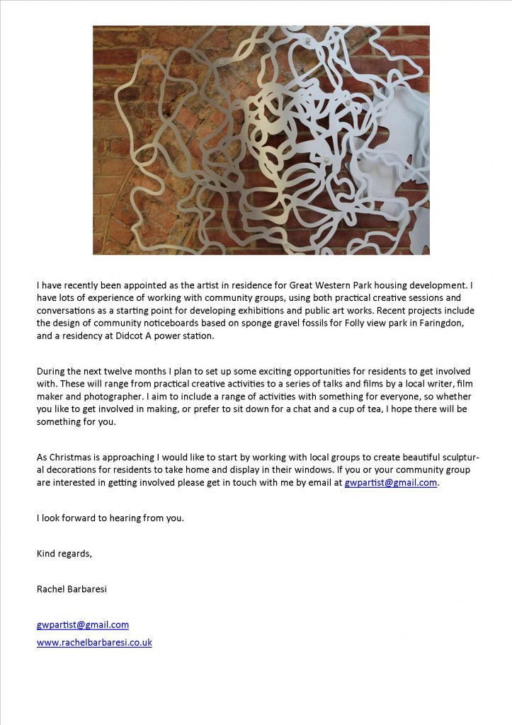 GWP Artist letter to residents