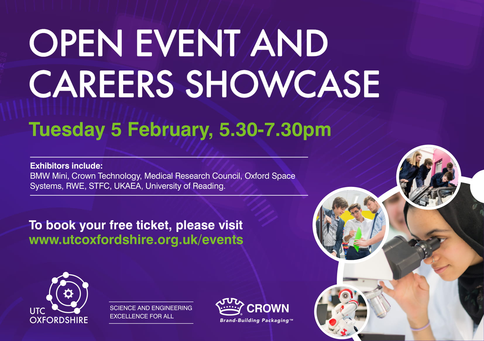 UTC Careers Showcase - http://www.utcoxfordshire.org.uk/events/